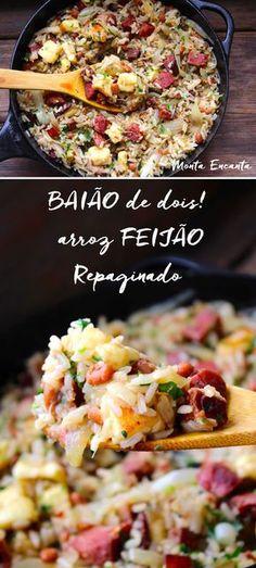 Baião de Dois, sobras de arroz feijão cozidos, manteiguinha, bacon e paio picadinho. Comida brasileira, da melhor qualidade!