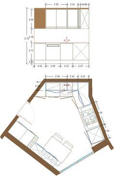 reordenación de cocina diseño 2, alzado lado izquierdo zona de fregadero.