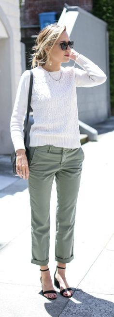 green cropped chinos, ivory sweater, black ankle strap sandals, black saddle bag, sunglasses + messy bun hairstyle {banana republic, steve madden, wonderland}