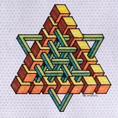 #impossible #isometric #penrosetriangle #Oscar_reutersward #symmetry #geometry #pattern #Escher #mcescher #handmade #handpaint #triangle #triangleimpossible #artist_sharing #art_empire 1 Doodle Patterns, Zentangle Patterns, Tile Patterns, Escher Art, Mc Escher, Isometric Drawing, Isometric Design, Illusion Drawings, Illusion Art