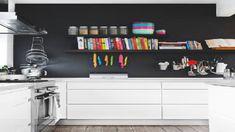 """Résultat de recherche d'images pour """"cuisine blanche murs noirs"""""""