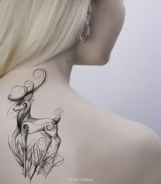 Deer Temporary Tattoo Dreamy Deer Deer Tattoo by OctaviaTattoo