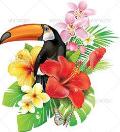 Vector Art : Tropical flowers and toucan Art Tropical, Tropical Birds, Tropical Flowers, Tropical Plants, Cactus Flower, Exotic Flowers, Purple Flowers, Wood Wall Art, Clipart