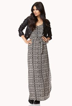 Forever21: Tribal Print Maxi Dress in Black/Taupe // $29.80