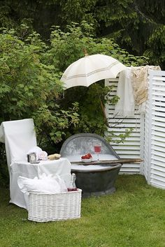 take a bath in a garden