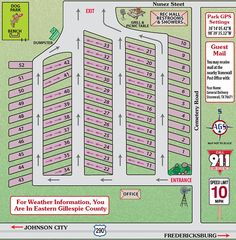 The park map and location of important features at the Peach Country RV Park in the Texas Hill Country. Rv Upgrades, Rv Parks And Campgrounds, Canada National Parks, Mobile Home Parks, Landscape Design Plans, Mini Farm, Parking Design, Rv Travel, Rv Life