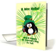 St. Patrick's Day Drunken Penguin with Booze/Custom Card