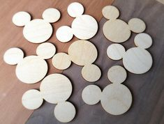 Laser-cut Wood: Mickey Mouse shapes, 12 pieces for $5.50 ... how great would these be for a rustic Mickey Mouse camping/fishing/lake party?!