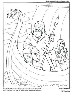 Eric the Red coloring page. Mystery of History Volume Lesson 51 Eric the Red coloring page. Mystery of History Volume Lesson 51 Eric the Red coloring page. Mystery of History Volume Lesson 51 Animal Coloring Pages, Coloring Book Pages, Erik Le Rouge, Vikings For Kids, Erik The Red, Ship Drawing, Norse Vikings, Mystery Of History, Teaching History