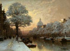 J C K Klinkenberg(1852-1924) - Winter View of the Singel, Amsterdam.