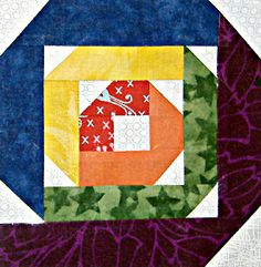 """Rolling Log Cabin block - 5 and 6"""" templates at link  The Quilting Climber: March 2012"""