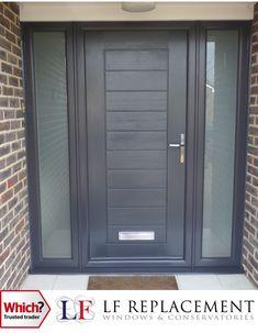Solidor Composite Doors Bristol and Wiltshire Doors, Exterior Front Doors, Anthracite Grey Windows, Exterior House Renovation, Wooden Porch, Composite Door, Red Brick House, Porch Design, House Front