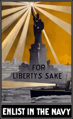 World War I poster featuring a ship with a spotlight sailing past the Statue of Liberty.