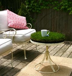 grass table...I just broke my glass table outside.  This would be a great replacement idea