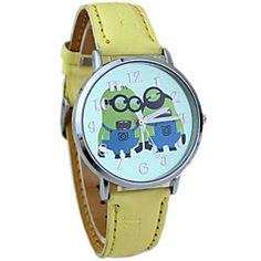 børns håndlangere dial pu band quartz sød tegnefilm armbåndsur