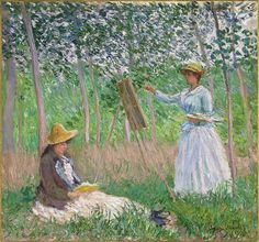 Claude Monet - In the Woods at Giverny: Blanche Hoschedé at Her Easel with Suzanne Hoschedé Reading [1887]