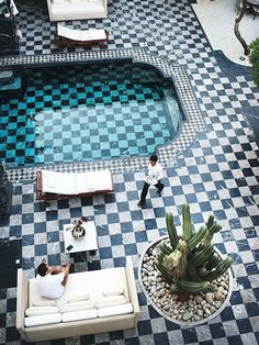 Mosaic tile flooring patio deck and swimming pool