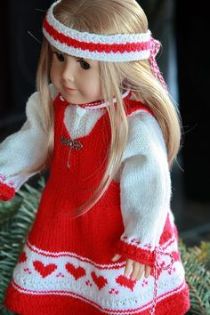 My favorite, very favorite doll clothes designer. The only thing that could make these designs better would be to have matching toddler patterns available! Dina in new, lovely Christmas clothes ... Design: Målfrid Gausel