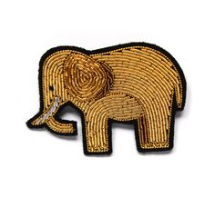 Broche Brodée grande elephant or (large embroidered gold elephant brooch) by Macon et Lesquoy