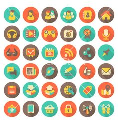 Social networking flat round icons with long shado vector - by vectorikart on VectorStock®