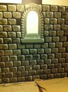 How to Paint an Easy Faux Castle Wall ~ Twig and Feather Fake Stone Wall, Fake Brick, Brick And Stone, Faux Stone, Castle Rooms, Castle Wall, Castle Painting, Diy Painting, Cardboard Castle