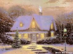 L. - House at night in the snow