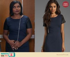 Mindy's navy dress with black leather sleeves on The Mindy Project. Outfit Details: http://wornontv.net/20074 #TheMindyProject #Fox