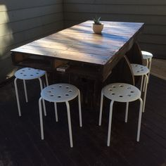 Pallet and Spool Patio Table  #spool #pallet #table #diy #patio