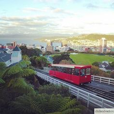 Cable car to the botanic garden, Wellington, New Zealand.    #city #capital #newzealand #wellington #sea #cablecar #travel #picoftheday