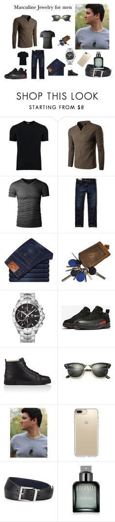 """Masculine Jewelry for men!!"" by zebacreations ❤ liked on Polyvore featuring Dolce&Gabbana, Hollister Co., TAG Heuer, NIKE, Christian Louboutin, Ray-Ban, Speck, Prada, Calvin Klein and men's fashion"