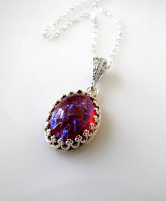 Sterling Silver Necklace with Vintage Fire Opal Glass Stone