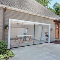 2-Car-Garage Screen Kit (16' W x 7' tall) The garage door screen kit includes screws, plastic anchors and hook & loop tabs and mounting instructions for cement board/dry wall or wood frame. The garage screens easily remove or roll up when not in use, and you can weigh the garage screen to keep it in place by inserting your own conduit into the bottom channel. Double garage door screen has a heavy-duty magnet to help keep the pass-thru opening closed so mosquitoes stay out.