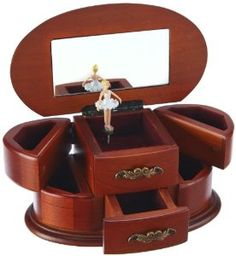 """Wooden Ballerina Musical Jewelry Box, Playing """"Bolero"""" by MusicBox Kingdom Available at joyfulcrown.com"""