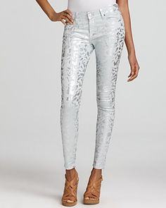 shine on....7 For All Mankind Jeans - Foil Floral Print Skinny Jeans | Bloomingdale's
