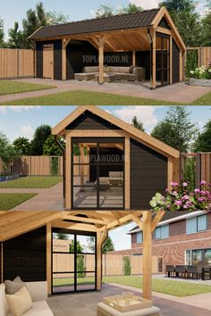 Contemporary Outdoor Fireplaces, Contemporary Sheds, Backyard Pavilion, Backyard Patio Designs, Open Shed, Summer House Garden, Architectural Design House Plans, Shed Building Plans, Patio Shade