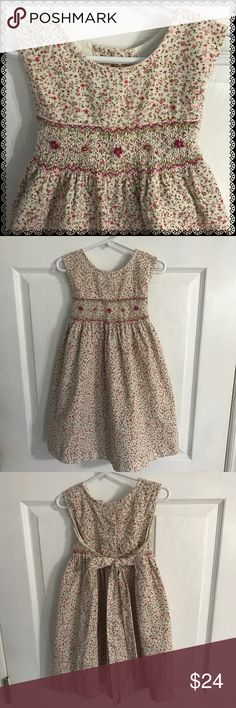 "Girls Rare Edition Smocked Dress As much as I Love Tulle and Lace, I LOVE LOVE smocking!!! It's sweet & timeless 💕 cream with light pink and hot pink flowers and tiny Petite corduroy it's a size 6 and measures about 24.5- 25"" from shoulder to hem and looks great....bundle to save more plus ⚡️📦📫😁💕 Rare Editions Dresses Casual"