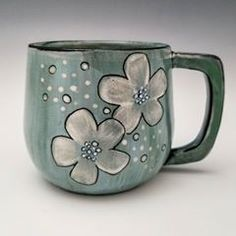 Been playing around with layering different underglaze colors on top of each other to create interesting depth and highlights. This mug has a very dark forest green layer with a beautiful light turquoise on top. And then some white blossoms (of course). I love how the color changes before my eyes. More to come soon. #colorplay . . #ceramics #pottery #handmade #mug #ceramicmug #duncanunderglazes #duncancovercoat #dscolor #porcelain #mugshot