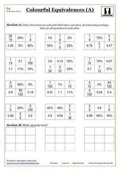 Colourful Equivalences (A) Maths Worksheets