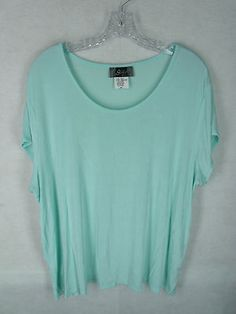 SLINKY BRAND womens green scoop neck cap sleeve acetate mix slinky knit top 2X