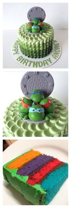 Ah yeah! This TMNT-colored layer cake is surprisingly easy to make and gorgeous to cut into. Made to impress at your next TMNT party!