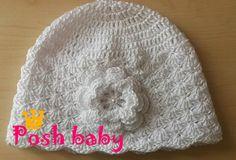 Baptism crocheted cotton beanie