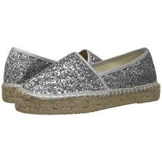 Dirty Laundry Emilio (Silver Glitter) Women's Slip on  Shoes (2.595 RUB) ❤ liked on Polyvore featuring shoes, flats, silver espadrilles, slip on flats, slip on shoes, glitter flats and platform shoes