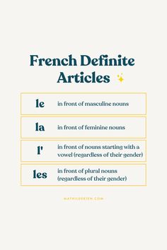 French Definite Articles Lesson