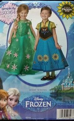 FROZEN  FOREVER Elsa and Anna Gown, Costume or Party Dress Pattern.