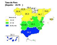 Tasa de paro en España 4ª trimestre de 2014 según la EPA Fuente: EPA 01/2015