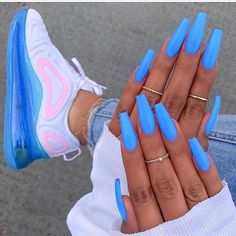 102 acrylic nail designs of glamorous ladies of the summer season 10 teloreci - acrylic nails - Nageldesign Aycrlic Nails, Neon Nails, Coffin Nails, Glitter Nails, Blue Acrylic Nails, Acrylic Nails For Summer Coffin, Acrylic Nail Designs For Summer, Colorful Nail Designs, Nagellack Trends