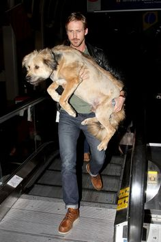 It's hard to say which is cuter: the guy or the dog. See 34 hot guys holding puppies, including Ryan Gosling, and be the judge.