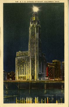 A.I.U. Citadel at Night, Columbus, Ohio, 1938.