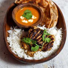 A Reneelicious recipe for deconstructed chicken tikka masala with naan bread