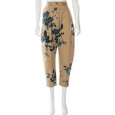 Pre-owned Vivienne Westwood Anglomania Printed Straight-Leg Pants ($95) ❤ liked on Polyvore featuring pants, pattern prints, flower print pants, patterned pants, floral print pants, pocket pants and beige pants